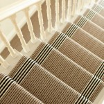 tan black white stair runner
