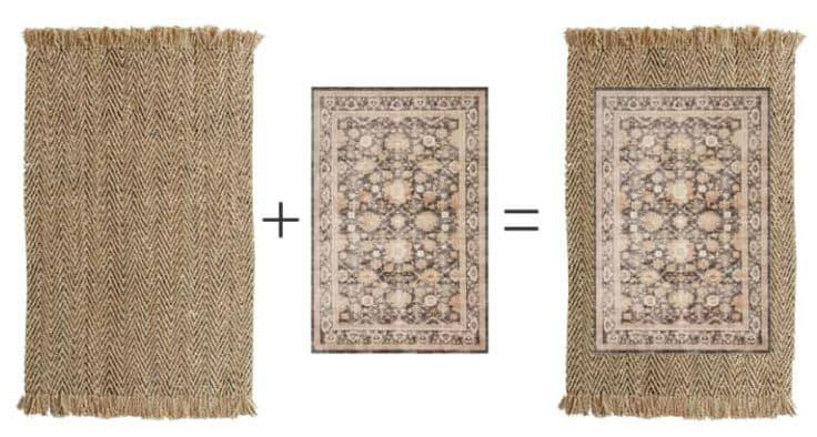 layered rug look