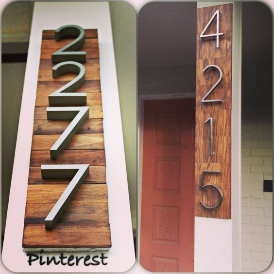 HOUSE NUMBER SIGN MADE OUT OF LEFTOVER FLOORING